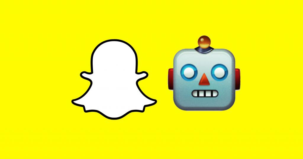 snapchat logo with robot emoji